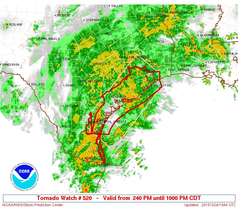Area of tornado watch.\in effect until 10 p.m. (National Weather Service)