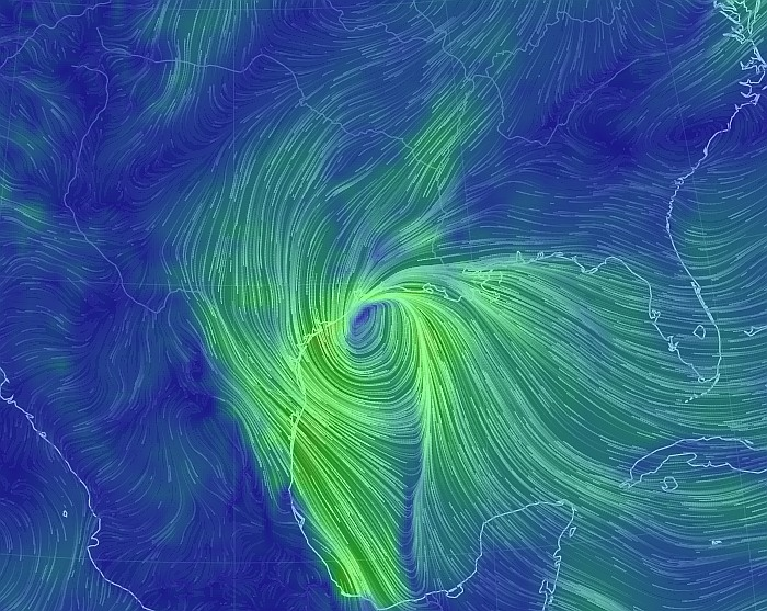 The remnants of Patricia are still creating a fairly strong wind field. (earth.nullschool)