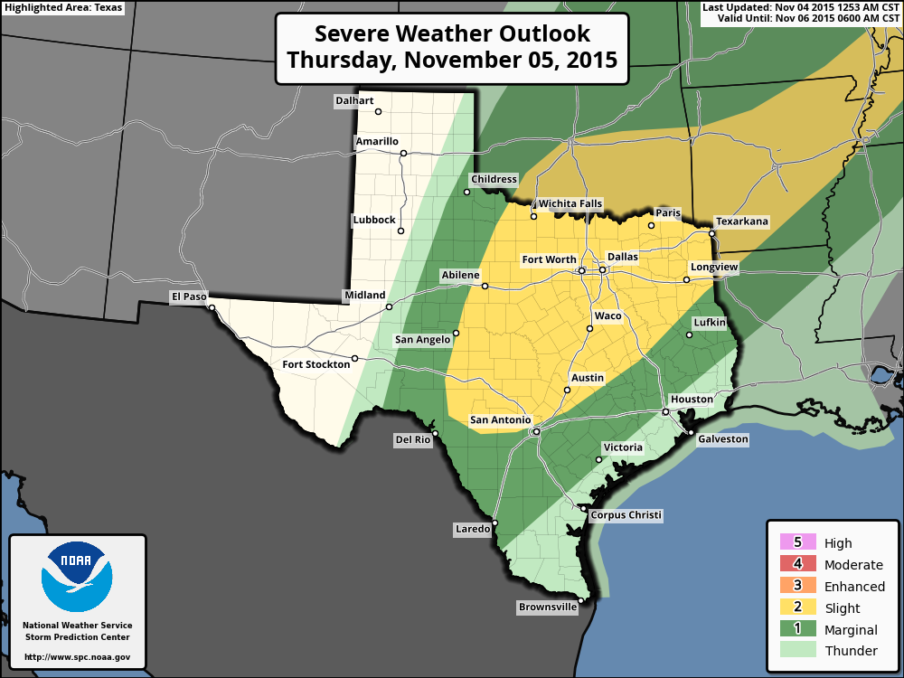 Severe weather chances for Thursday. (NOAA)