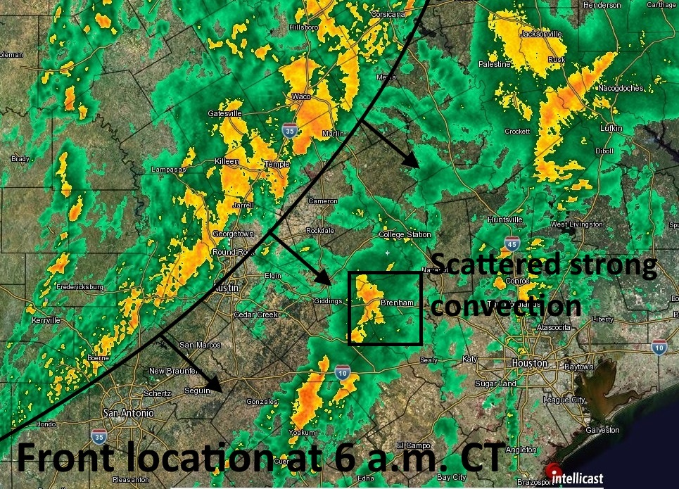 Location of the front and main squall line at 6 a.m. (Intellicast)