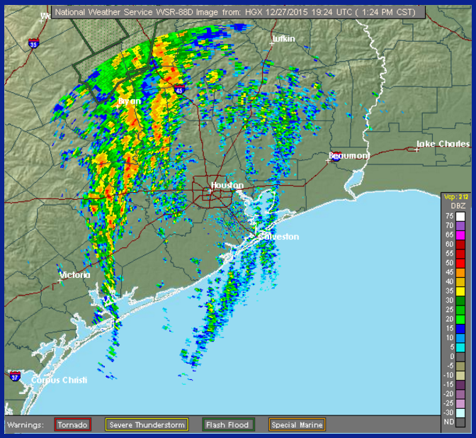 1:30 PM radar shows a line of thunderstorms organizing west of Houston. It will move through over the next few hours. (NOAA)