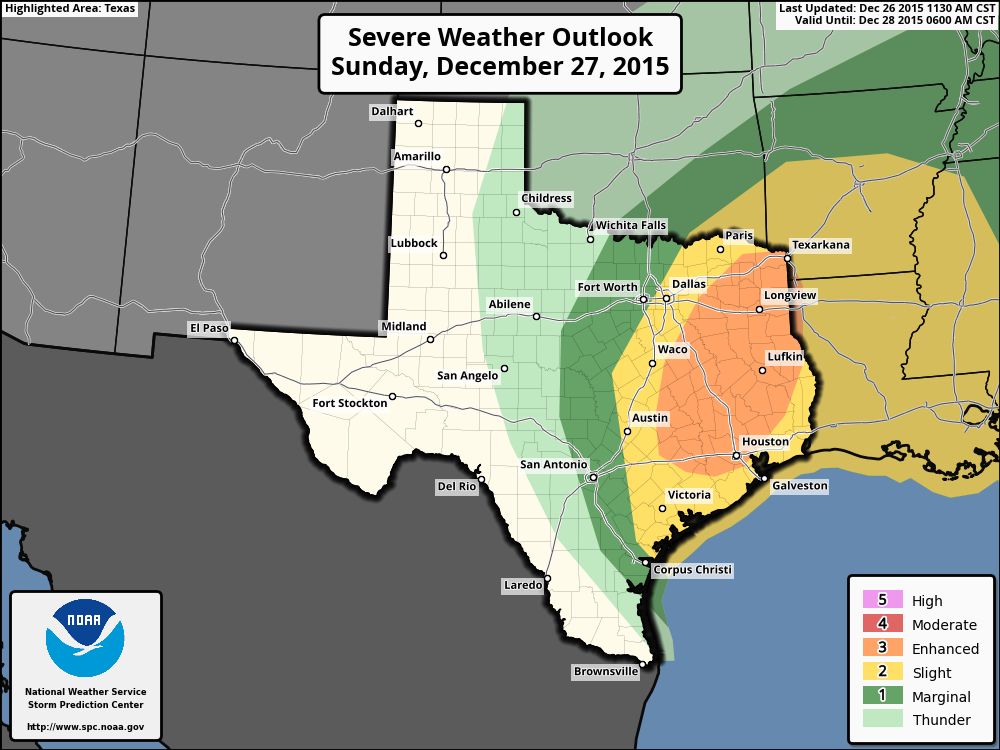 Severe weather outlook for Sunday. (NOAA Storm Prediction Center)