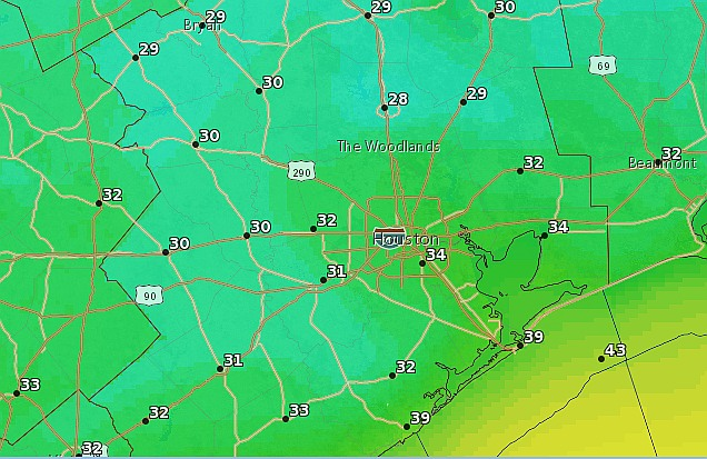 Saturday morning forecast low temperatures. (National Weather Service)
