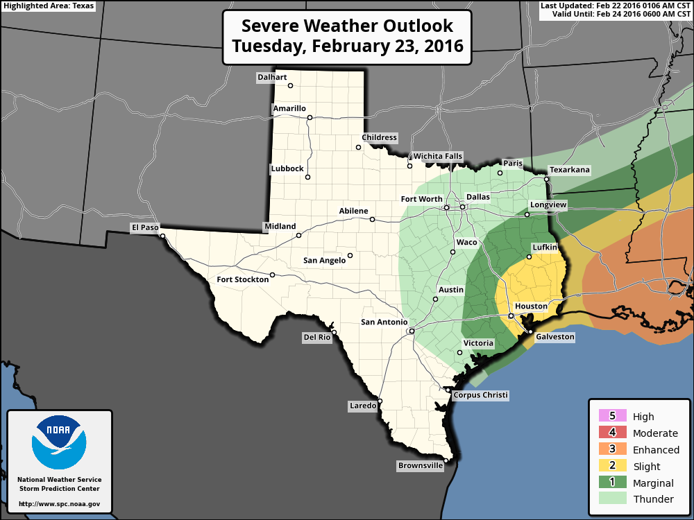 Severe weather outlook for Tuesday and Tuesday night. (NOAA)