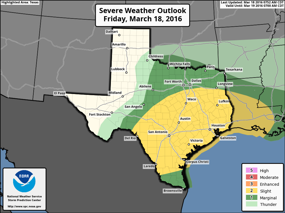 Severe weather outlook for tonight. (NOAA)