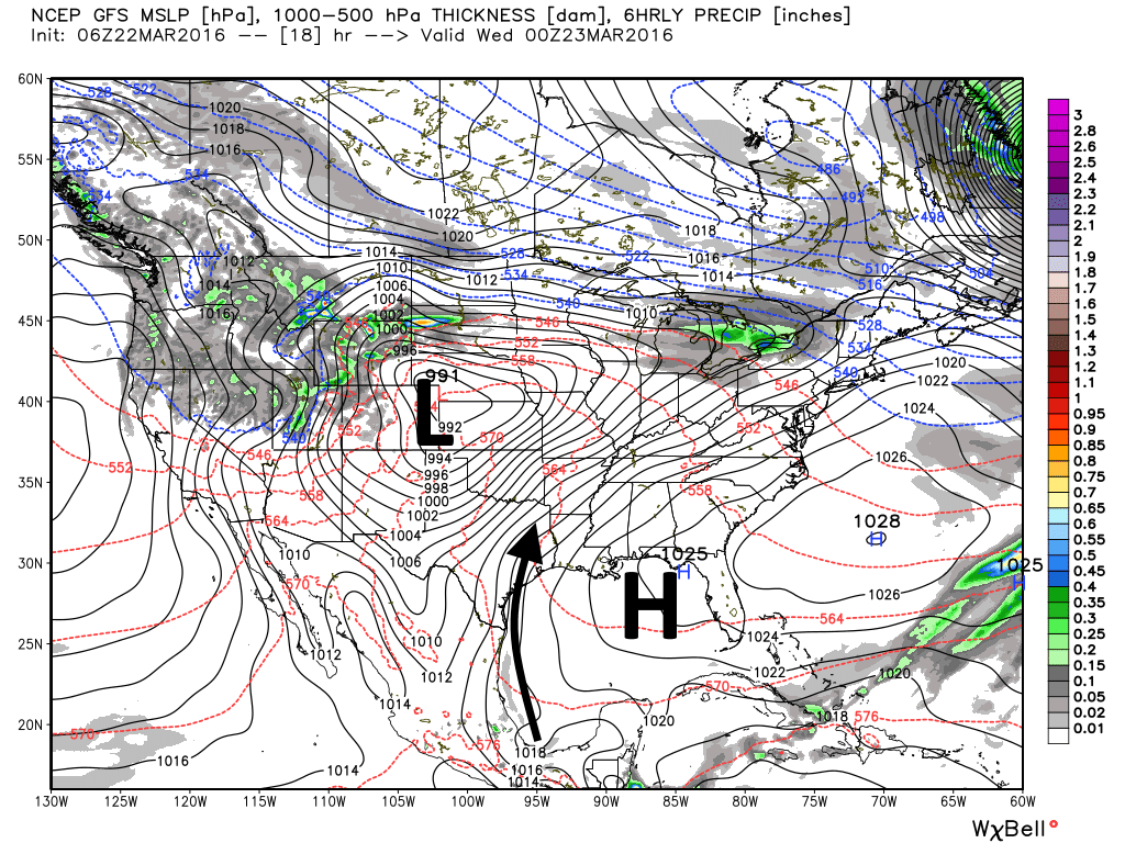 The mid-level of the atmosphere forecast for today shows the distinct pressure gradient. (Weather Bell)