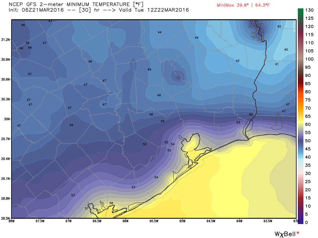 Lows on Tuesday morning will again be cool, but nothing like Monday morning, per this GFS model forecast. (Weather Bell)