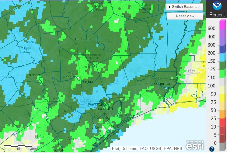 """""""Percent of normal"""" rainfall the Houston area has received since Oct. 1, 2015. (NOAA)"""