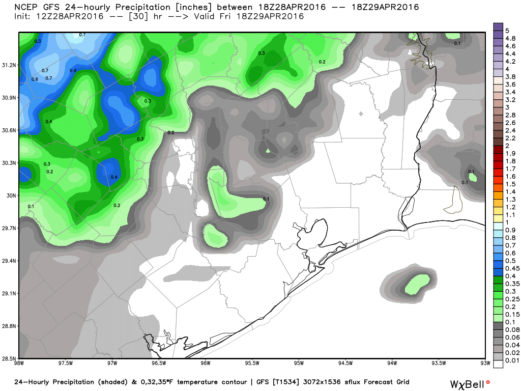 GFS rainfall forecast overnight and Friday morning. (Weather Bell)