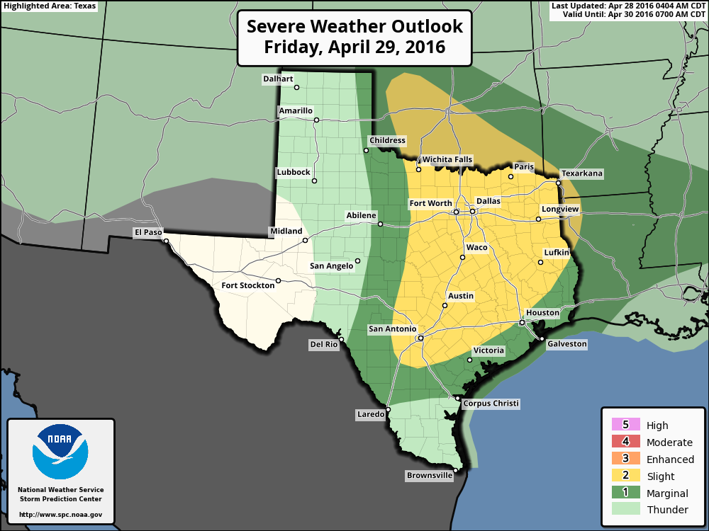 Severe weather outlook for Friday. (NOAA)