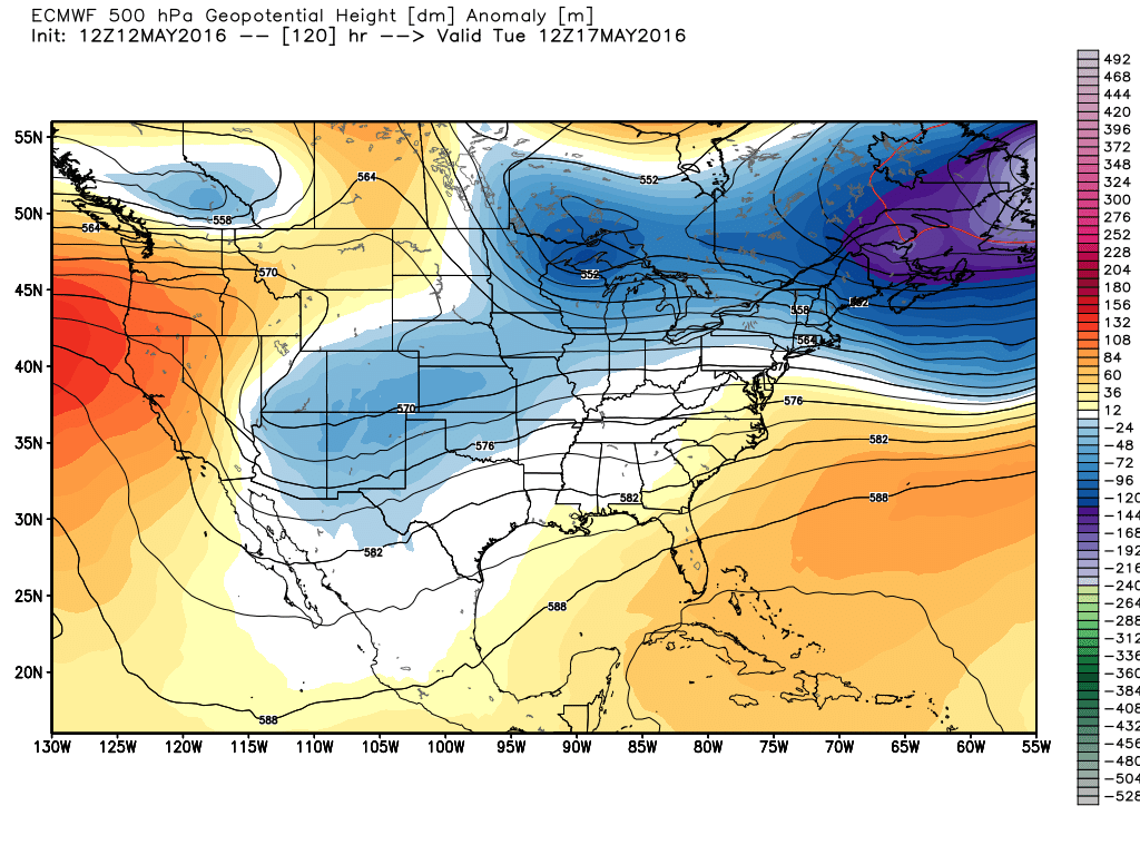 Upper level weather pattern shows an anomalously cool pattern next week. (Weather Bell)