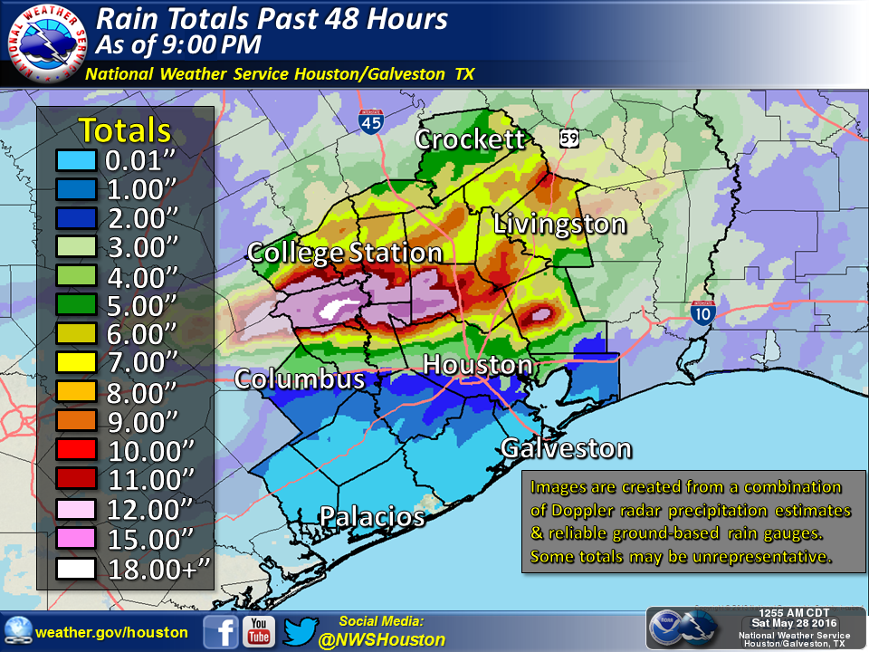 Total rainfall through 9 PM Friday. Not a pretty map. (NWS)