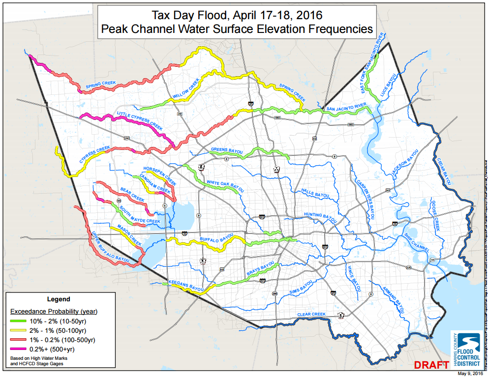 Large stretches of Western Harris County creeks and bayous saw 100 to 500 year flood levels exceeded. (HCFCD)