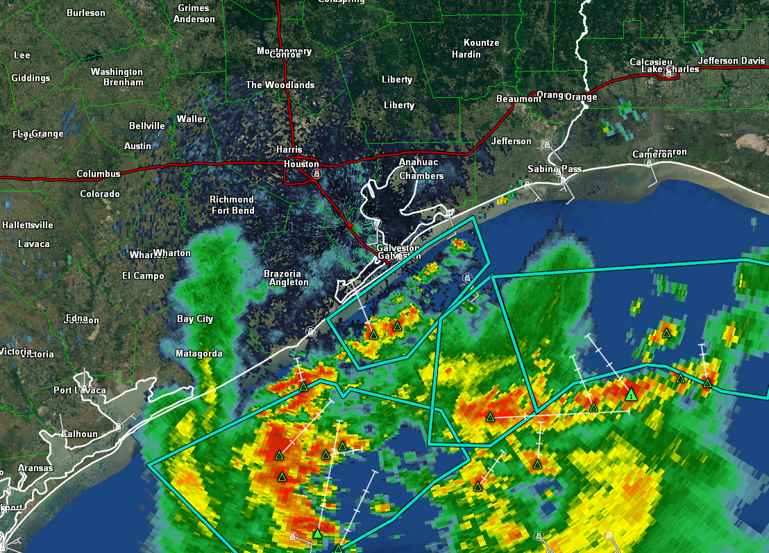 Radar as of 6 AM shows heavy rain offshore, but mostly quiet weather around Houston. (GRLevel3)