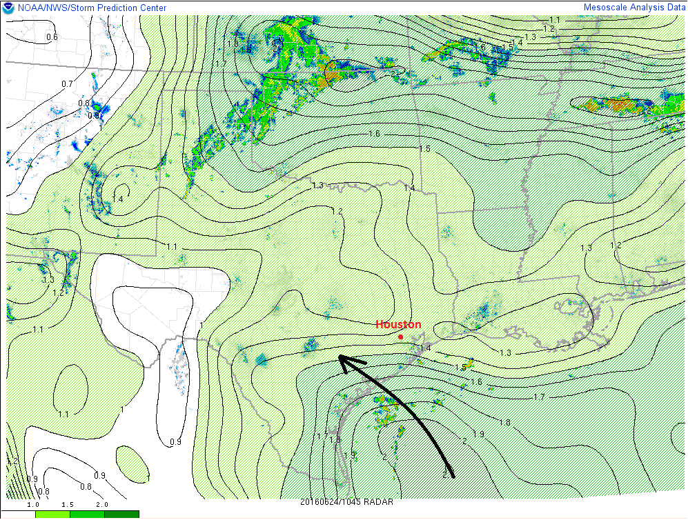 Deeper moisture increasing along the Texas coast as of early this morning. (NOAA/SPC)