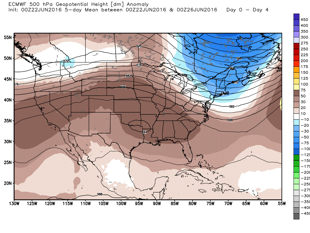 Houston will remain on the southern edge of high pressure over the next few days. (Weather Bell)