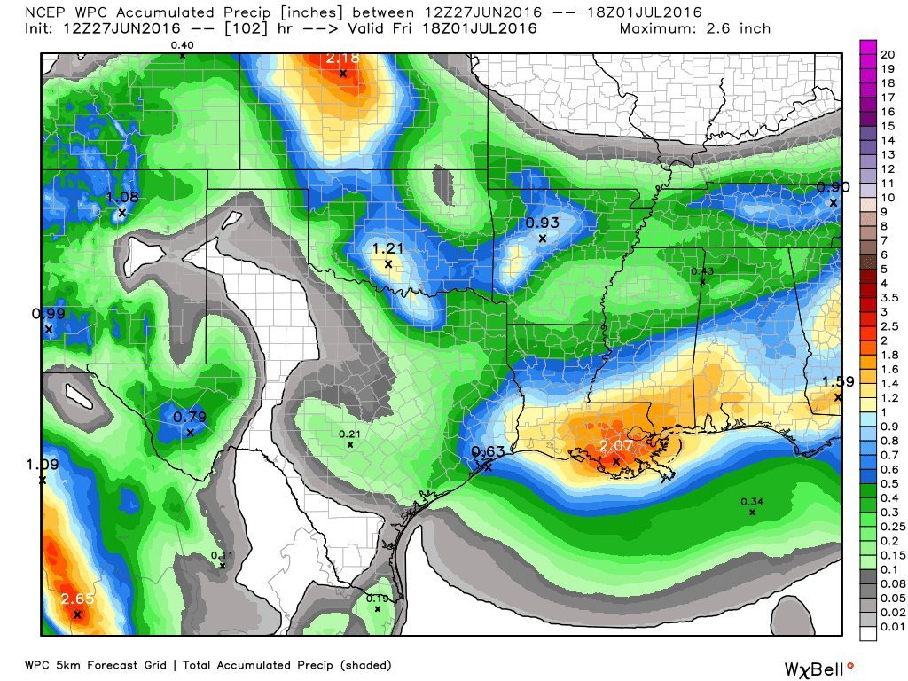 NOAA rain accumulation forecast for now through Thursday. (Weather Bell)