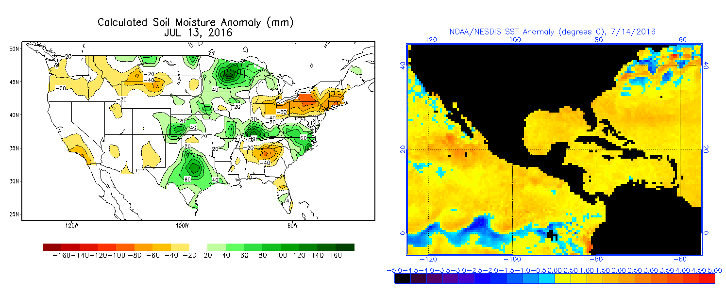 Soil moisture anomalies (left) and sea surface temperature anomalies (right) imply added warmth & moisture to keep our nights warmer than usual. (NOAA)