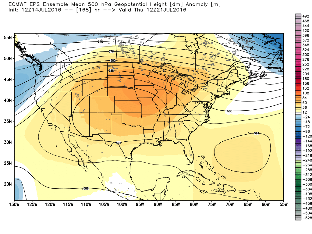 Next Thursday's upper level forecast from the European model is sizzling. (Weather Bell)