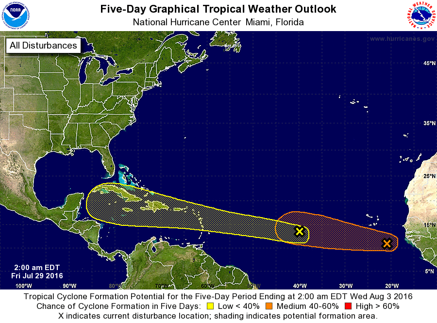 National Hurricane Center tropical weather outlook this morning. (NOAA/NHC)