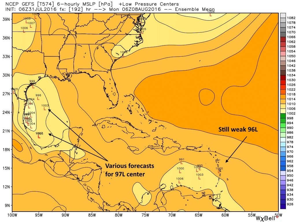GFS ensemble forecast for tropical low locations early Monday morning. (Weather Bell)