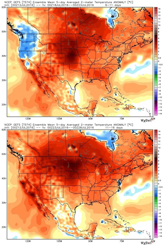 GEFS model forecast temperature anomalies for July 18-23 (top) and July 23-28 in Celsius. (Weather Bell)