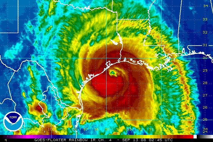 Infrared satellite imagery of Hurricane Ike before landfall, September 2008 (courtesy NOAA)