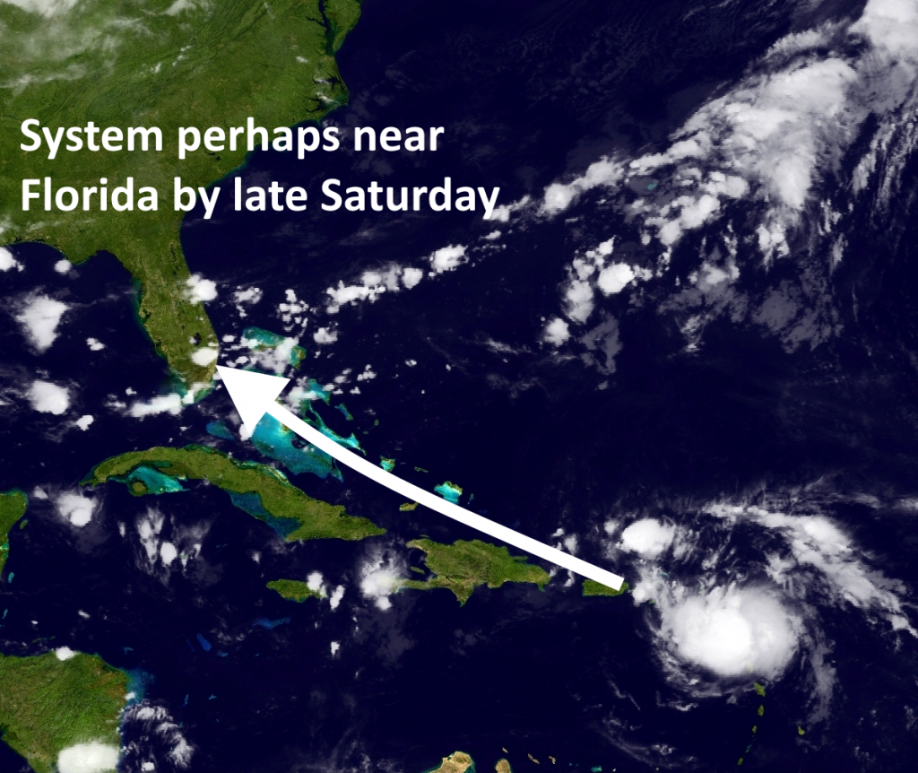 Possible track of Invest 99L. (NOAA)