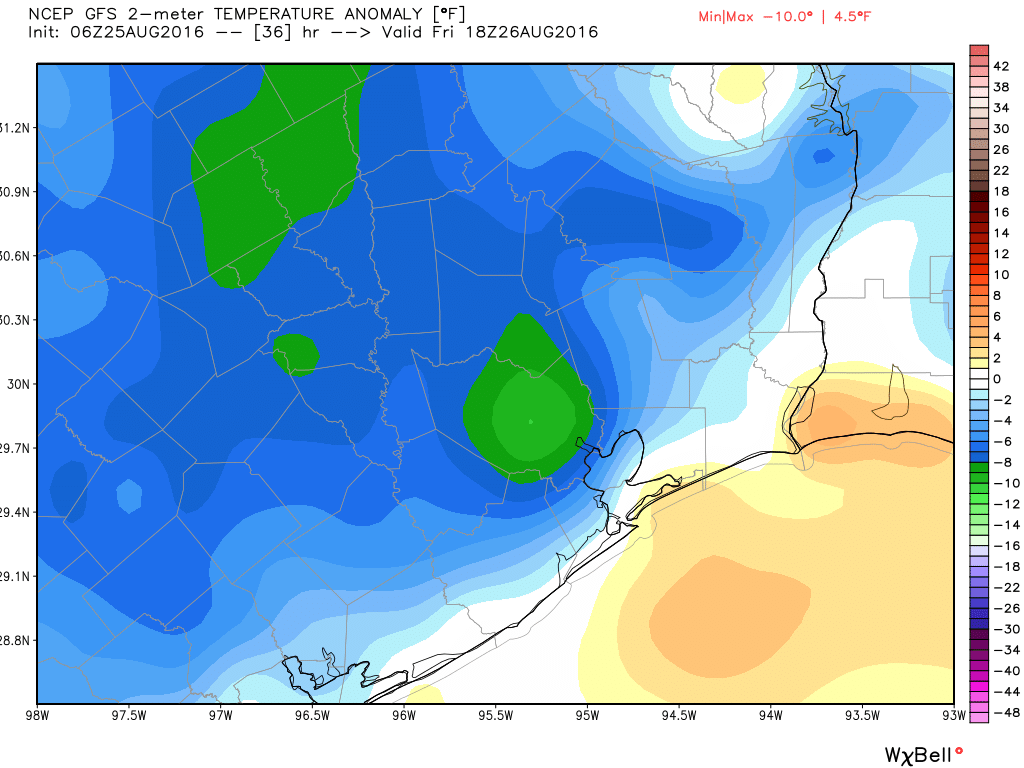 Temperatures on Friday could be a solid 8 to 10 degrees cooler than normal for August. (Weather Bell)
