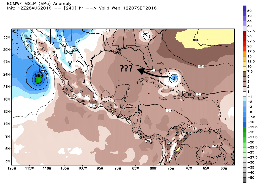 """The tenth day of the European model forecast shows the """"future storm"""" having crossed the Atlantic. (Weather Bell)"""