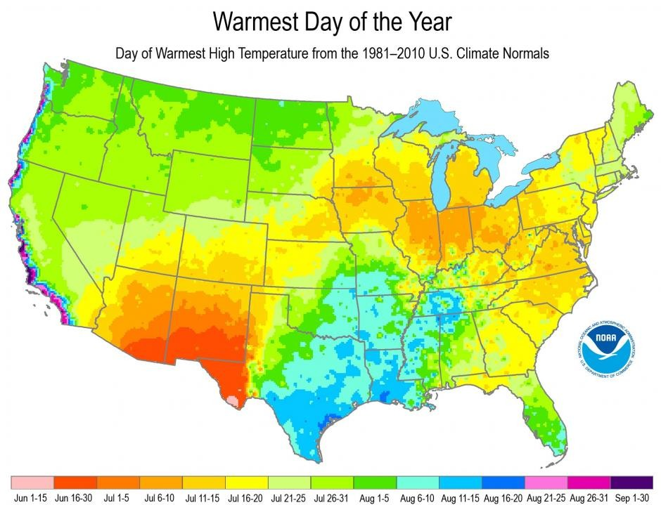 The week when different parts of the United States typically experience their warmest day of the year. (NOAA)