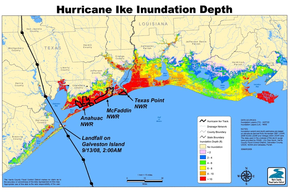 Hurricane Ike inundation depth map (Courtesy of the Harris County Flood District)