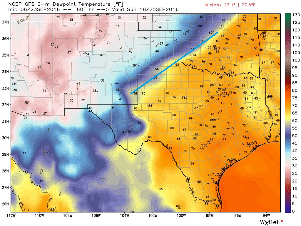 Models are in decent agreement and have the front moving out of the Texas Panhandle on Sunday afternoon. (Weather Bell)