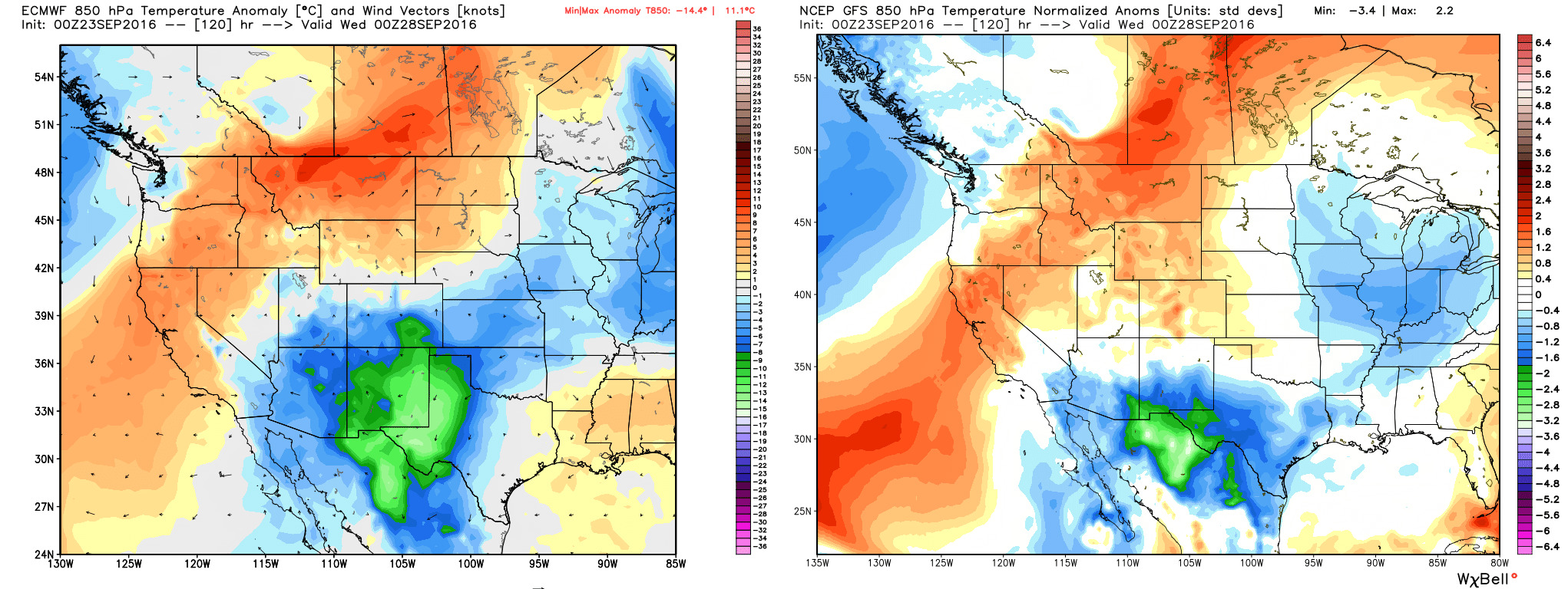 The European model (left) and GFS model (right) show distinct temperature differences in SE Texas Tuesday evening. The Euro keeps us near to above normal, while the GFS pushes the front through. (Weather Bell)