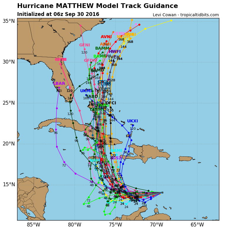 Models are in good agreement on Matthew's future track staying out of the Gulf. There are still questions about potential East Coast impacts, however. (Tropical Tidbits/Levi Cowan)