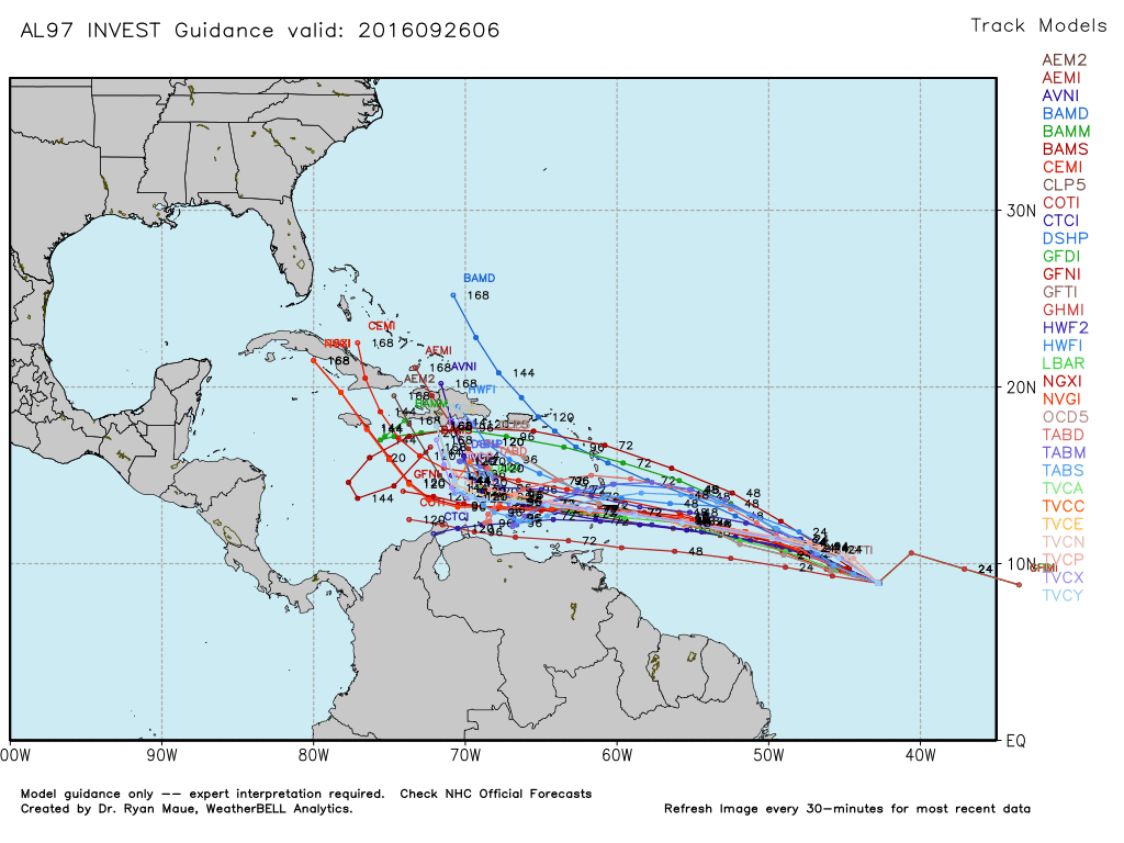 Track models for Invest 97L. (Weather Bell)