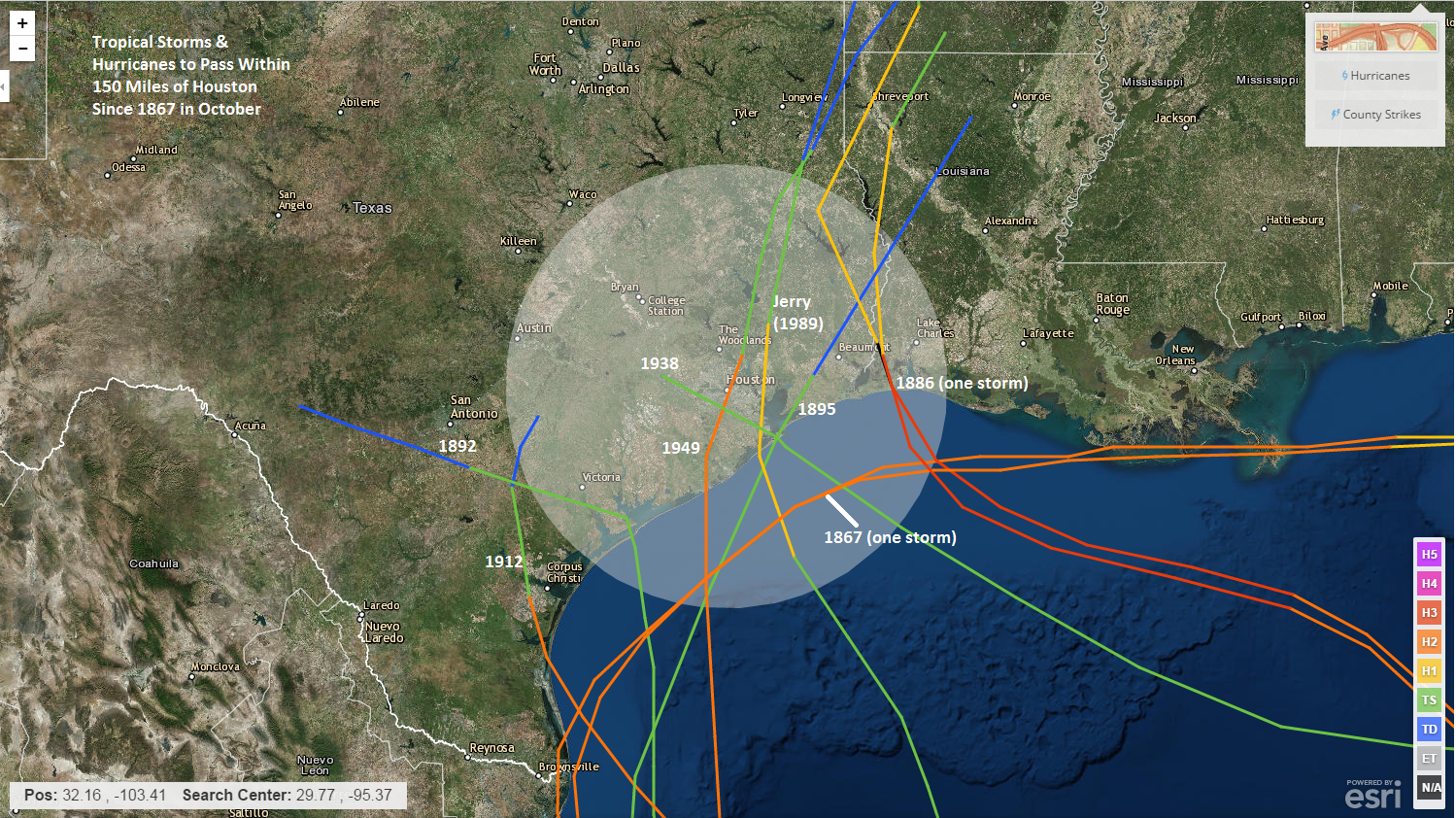 Storms to pass within 150 miles of Houston in October since the mid-1800s. (NOAA)