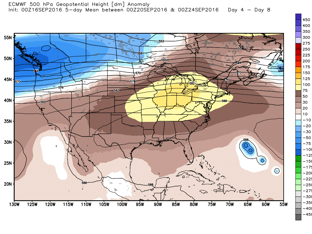 The European model shows high pressure building over Texas next week. (Weather Bell)