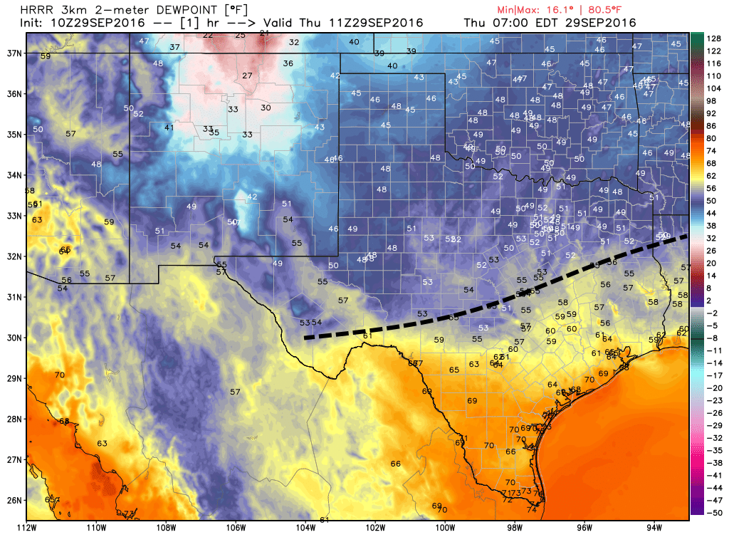 A reinforcing cool front is moving through Texas this morning (position just before sunrise shown here). It should push through Houston today. (Weather Bell)