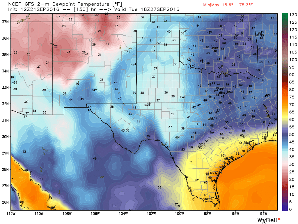 This dewpoint forecast for Tuesday morning from the GFS model shows the front pushing into Houston. (Weather Bell)