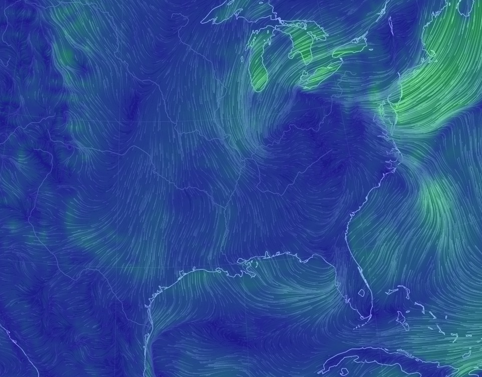 Northerly winds (here's a projection for Thursday morning) are indeed a beautiful thing. (Earth.nullschool.net)