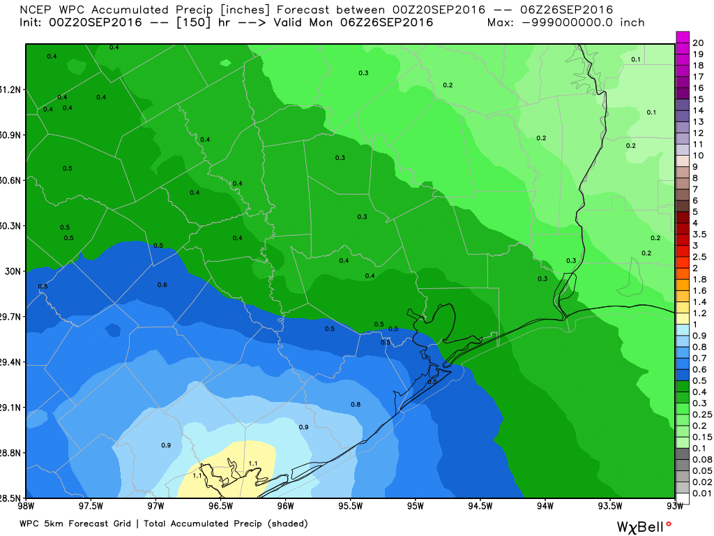 National Weather Service rain accumulation forecast for now though the weekend. (Weather Bell)