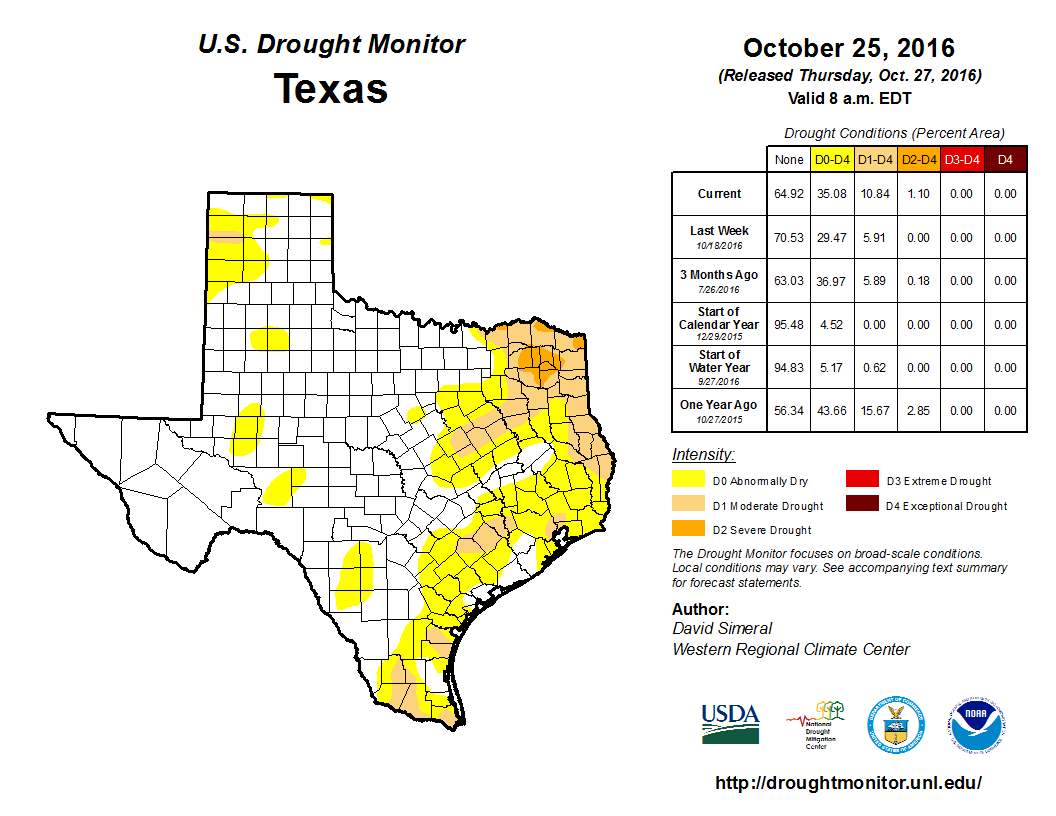 After a dry month or two, coverage of drought is expanding in East Texas. (US Drought Monitor)
