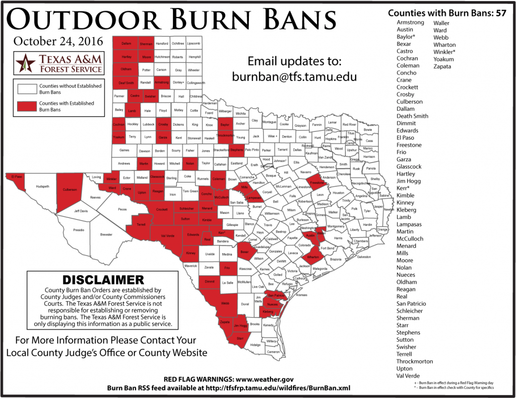 Texas counties with burn bans. (Texas A&M Forest Service)