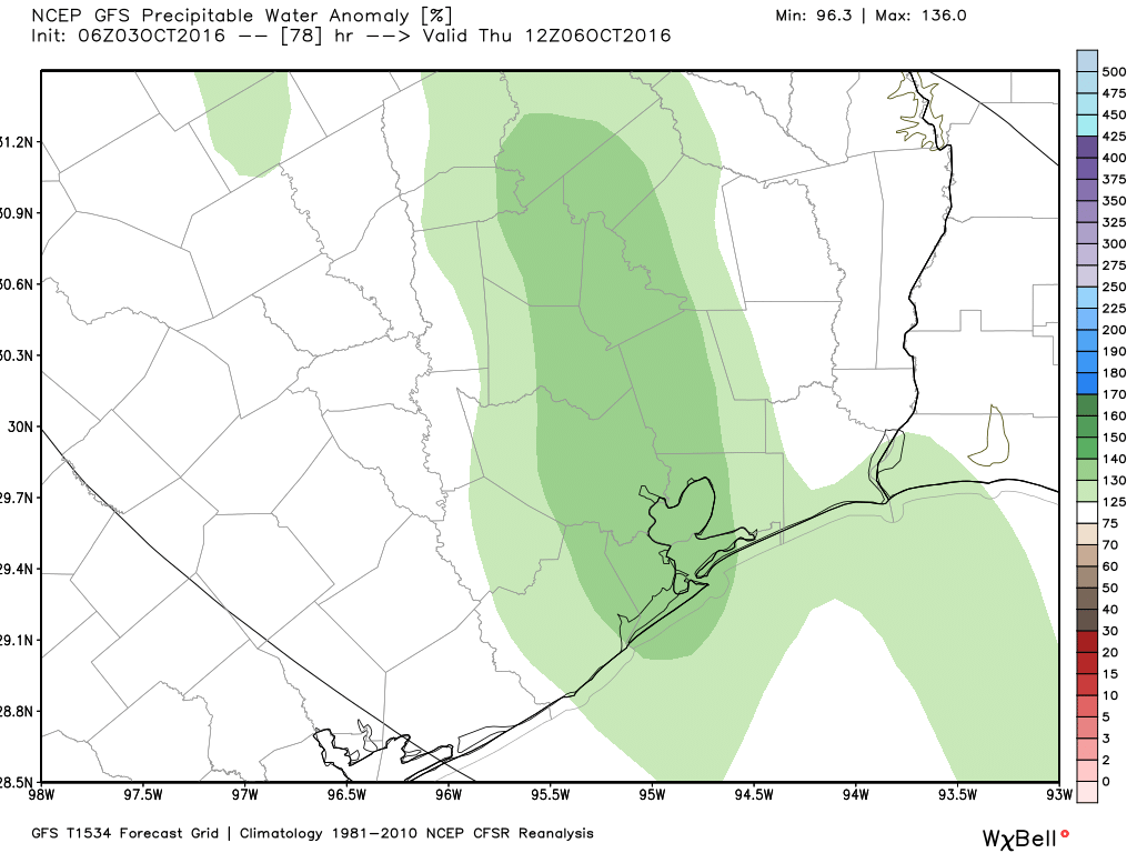 Precipitable water levels should be highest on Thursday of this week. (Weather Bell)