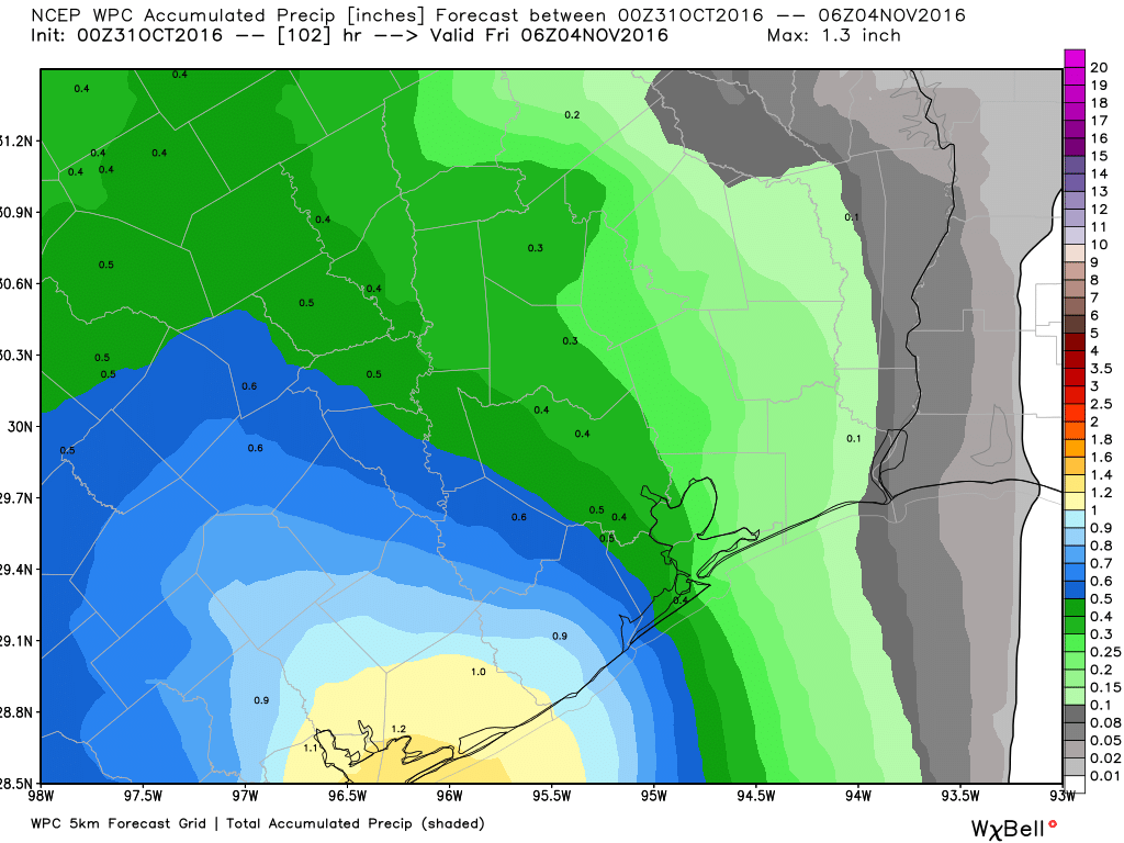 The rain accumulation forecast for this week shows the best chances to the southwest of Houston. (Weather Bell)