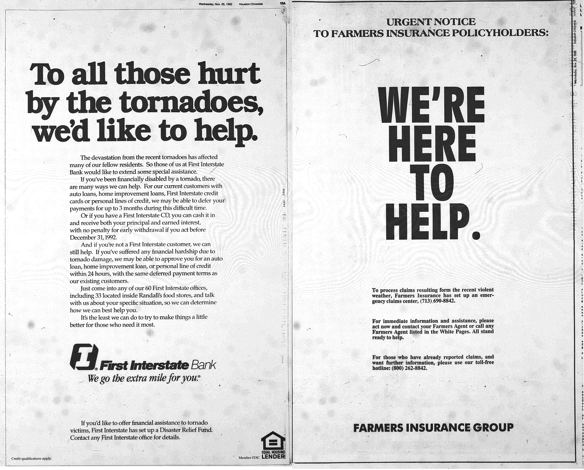 Ads published in the Houston Post and Houston Chronicle after the tornado outbreak. (Rice Fondren Library)