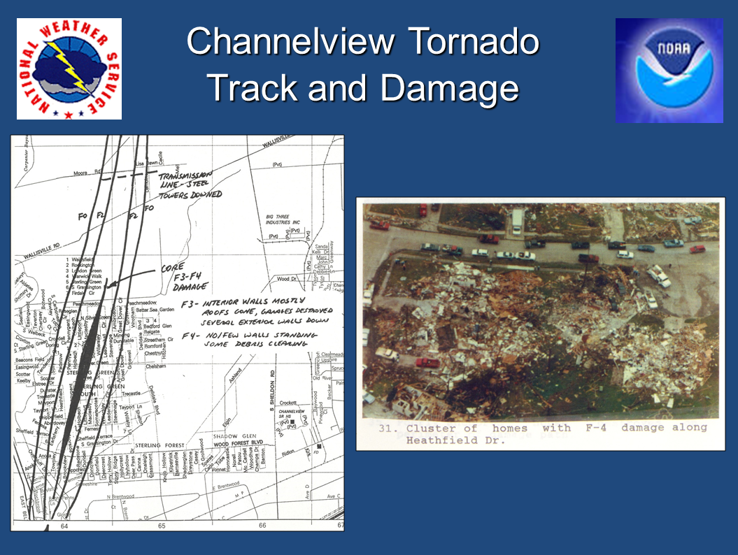 Damage and a portion of the tornado path through Channelview. (Lance Wood/NWS Houston)