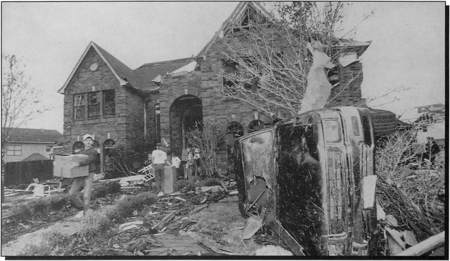 Damage after the November 21st tornado from the Kelliwood subdivision near Katy. (NOAA/Houston Chronicle)