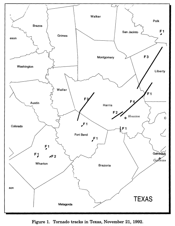 Map of tornado tracks across the Houston region. The storm that produced the F1 tornado on the Brazoria/Harris County line eventually produced the devastating Channelview tornado. (NOAA)